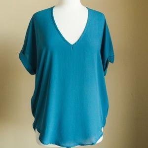 Nordstrom Lush Blue Flowy Short Sleeve Blouse